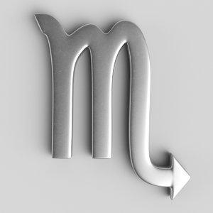 3D sign scorpio