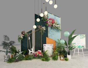 green flower plants model