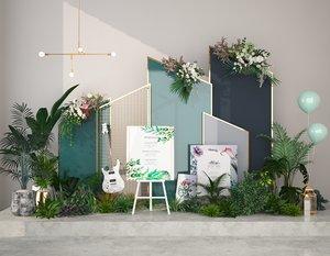 3D green flower plants model