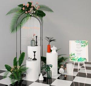 green flower plants 3D