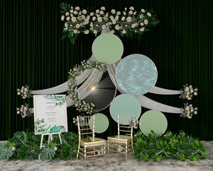 green flower plants 3D model