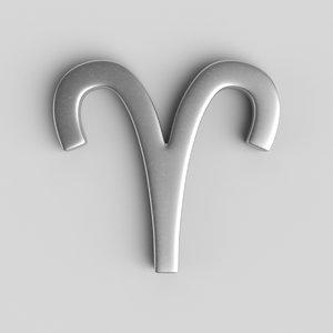 3D sign aries model