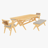 Cassina Jeanneret Capitol Complex Table with Office Chair and Clear Civil Bench with Cushions Set