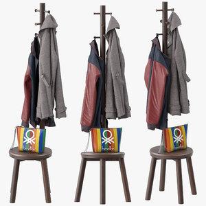3D pillar coat stand model