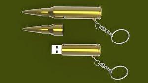 bullet usb stick flash drive 3D model