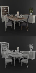 dining table setting 3D model