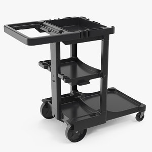 multi shelf cleaning trolley 3D model