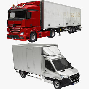 3D box cargo truck colleciton model