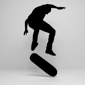 skateboard silhouette 3D