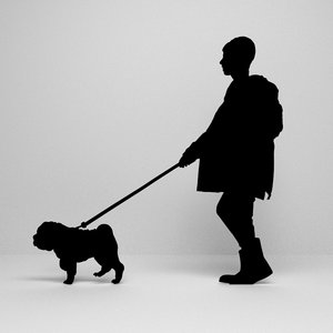 3D walking dog silhouette
