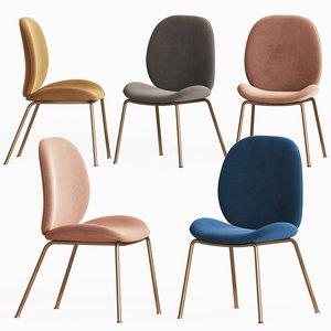 astor upholstered dining chair 3D model