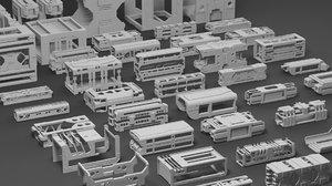 3D hard surface assets framing model