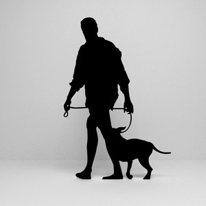 3D model walking dog silhouette