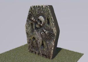 3D model grave gravestone old