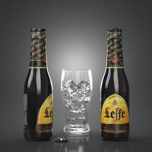 leffe brown bruin beer bottles 3D