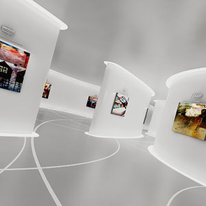 3D future sci-fi art gallery