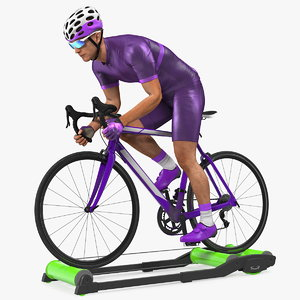 bicyclist riding roller trainer model