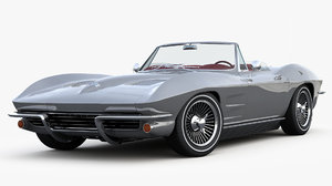 3D corvette convertible c2 sting model