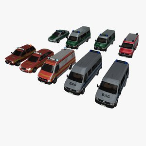 3D german emergency vehicles cars