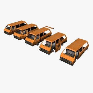 old damaged van 3D model