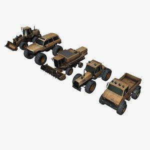 3D model digger harvester tractor vehicles
