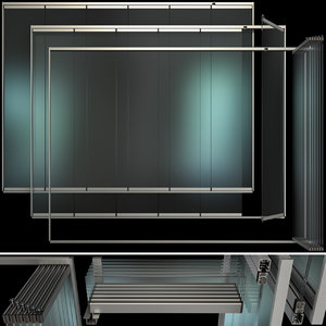 glass sliding partition walls 3D
