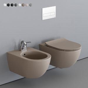 3D app wall-hung toilet bidet model