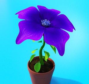 3D rigged purple flower