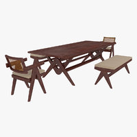 Cassina Jeanneret Capitol Complex Table with Office Chair and Mahogany Civil Bench with Cushions Set