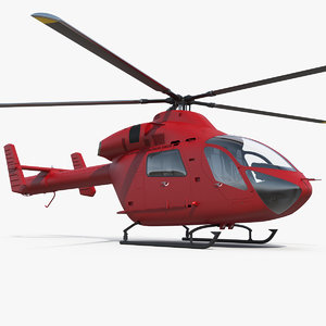 light twin utility helicopter chopper 3D model