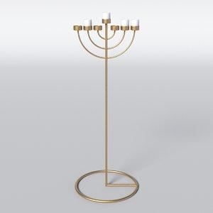3D menorah candle copper model