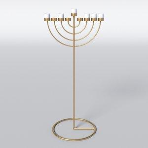 menorah candle copper 3D