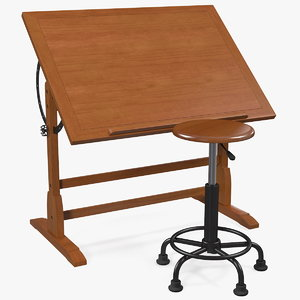 vintage wood drafting table 3D