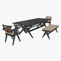 Cassina Jeanneret Capitol Complex Table with Office Chair and Black Mahogany Civil Bench with Cushio