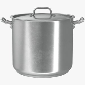 3D model realistic stainless pot 01