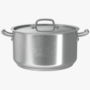 3D realistic stainless pot model