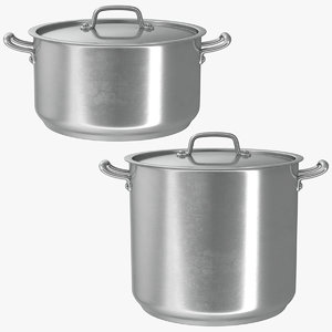 3D realistic stainless pot set model