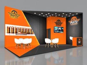 3D stall height 365 cm model
