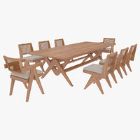 Cassina Jeanneret Capitol Complex Table with Office Chair and Wooden Chair with Cushions Set