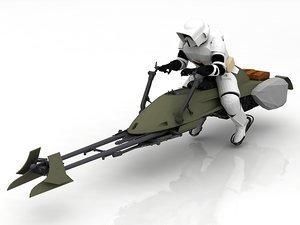 star wars vehicle concept bike 3D