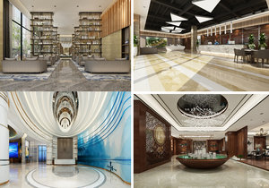 3D model lobby scene interior