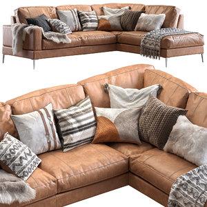 3D capri sectional sofa fur