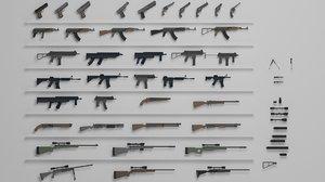 guns pack wenapons 3D model