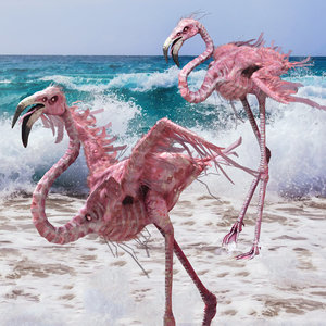 3D model flamingo pbr