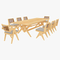 Cassina Jeanneret Capitol Complex Table with Office Chair and Clear Chair with Cushions Set