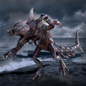 3D shark lobster character monster