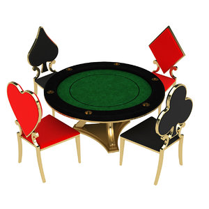 3D model poker table design chairs