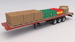 industrial trailer 3D