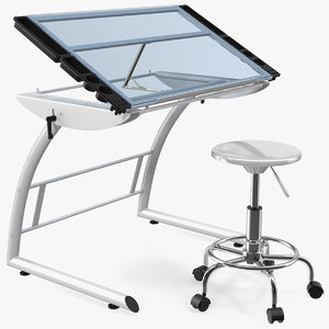 3D triflex adjustable glass drawing table model