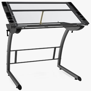tiltable glass drawing table 3D
